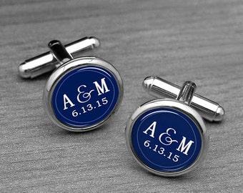 Monogram Cufflinks, Navy Blue, DIY Background Color,Custom Groom & Bride Wedding Gifts, initials, Wedding Date, Personalized Gifts for Men