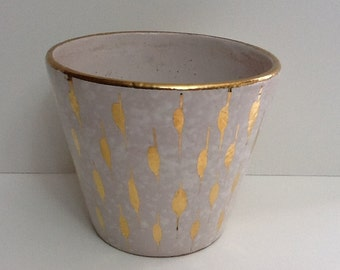 Vintage Mid Century Modern Atomic Style Ceramic Planter Ivory and Gold Italy