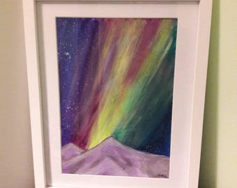 Northern lights over the mountains, landscape are, aurora borealis, colourful sky original A4 acrylic painting