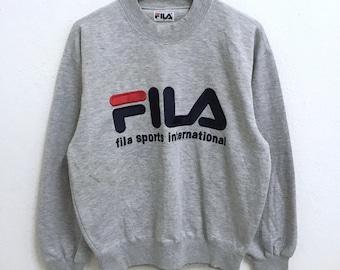 RARE!!! Fila Sport International Big Logo Embroidery SpellOut Crew Neck Grey Colour Sweatshirts Hip Hop Swag M Size