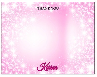 Pink Sparkles Thank You Card, Pink Glittery Thank You Note, Pink note card, pink sparkles thank you card