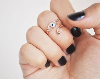 evil eye knuckle ring with stonesFREE SHIPPING