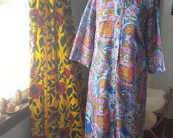 Vintage 60s Psychadellic Saybury House Dress, 1960s House Coat, 60s Hippie Dress, Groovy Psychadellic Robe, Vintage Clothing, Size Medium