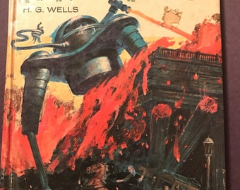 The War of the Worlds H. G. Wells 1960s vintage hardcover Whitman Publishing illustrated by Shannon Stirnweis