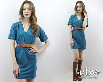 70s Dress 1970s Dress 70s Party Dress Hippie Dress Hippy Dress Teal Velvet Dress Teal Velour Dress Velvet Mini Dress 70s Mini Dress S M
