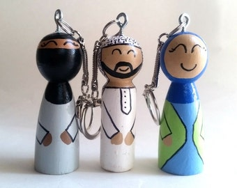 Islamic Keychain/Muslim Doll Keychain/Arabic Palestine Keychain/Zipper Pull/Backpack Charm/Niqab keychain/Zipper charm/Key ring/Key charm