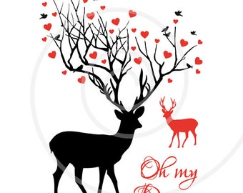 Oh my deer, printable card, digital art print, wall art, poster, wedding anniversary, unique gift for couples, instant download