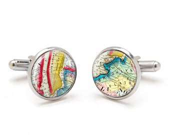 Map Cufflinks - Brooklyn New York City Map Cufflinks - Vintage Map Cufflinks - Unique Gifts for Men - Groomsmen Gifts - Groom Cufflinks