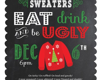 Holiday Invitations - Ugly Sweater Party - Customized