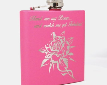 6oz Matte Pink Fabulous Flask - Initials w/ Design on Back Optional
