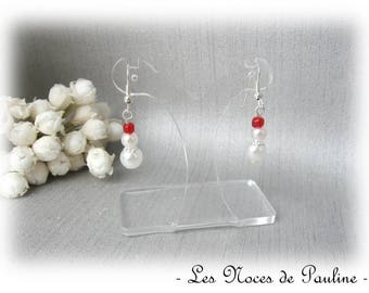 Earrings red and white 3 pearls C