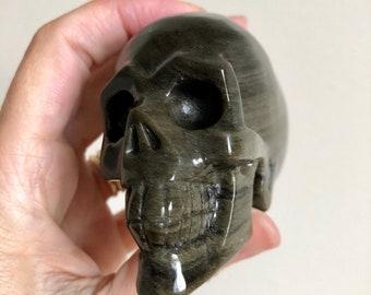 Golden Sheen Obsidian Crystal Skull 90mm 242g