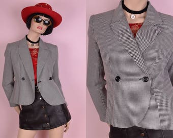 90s Black and White Houndstooth Blazer/ Small/ 1990s/ Jacket