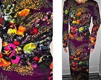 1990s Rare Jean Paul GAULTIER Vibrant Floral Dress Flowers - Designer XL