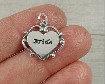 Bride Charm - Sterling Silver Wedding Bride Charm for Necklace or Bracelet