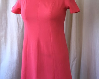 "1960's Pink Dress /Montgomery Ward / Plus Size / Late 60's Mod Minidress in hot pink double knit with brass button yoke detail / 42"" Bust"