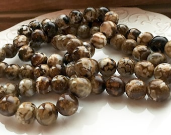Smooth Polished 14mm Tortoise Agate Rounds - Half Strand