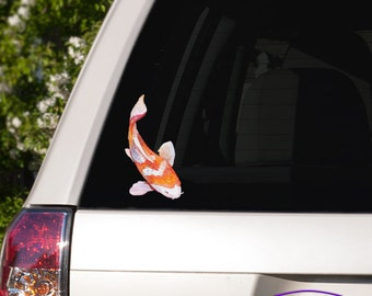 Orange and White Watercolor Koi Fish Car Window Full Color Vinyl Decal
