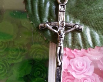 1 pendant cross crucifix Tibetan style, lead and cadmium-free, antique silver, 51 mm long, 25 mm wide, 5 mm thick, hole:
