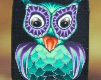 Small Owl Polymer Clay Cane -'Night Owl' series (43dd)