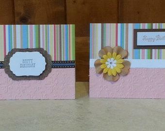 2 Pink Happy Birthday Cards