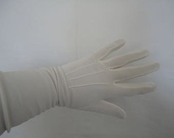 Vintage Ivory Silky Nylon Over Elbow Gloves by Cornelia James - 1960s - Size 6.5 to 7 - Bridal/Wedding/Prom/Burlesque/Cruise/Ball - Unworn