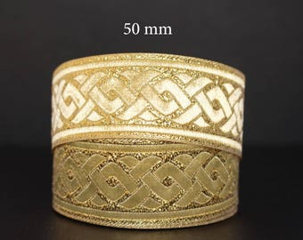 Embroidered Jacquard lace * pattern Celtic braid * 50mm wide