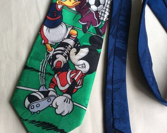 Vintage Disney © tie,  Mickey, Donald and Goofy play football tie