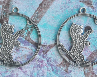 TWO brass Kitten charms,  Sterling silver finish, Cat Charms, Brass Stampings, Pendants, Crafting, Jewelry Supplies Made in  America