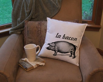 bacon throw pillow cover, pig   pillow cover, farm