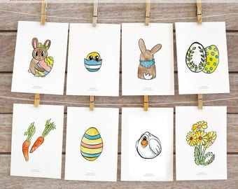 Easter postcards printable set (8 designs, postcards and notecards)
