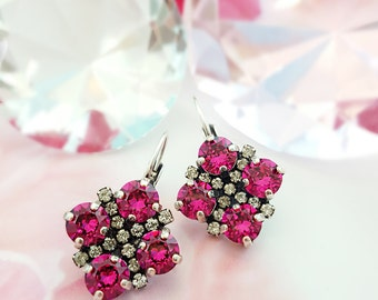 Hot Pink Crystal Earrings - Fuchsia Earrings - Magenta Earrings - Swarovski Crystal Jewelry - Pink Ruby Earrings - Neon Pink Earrings E3040