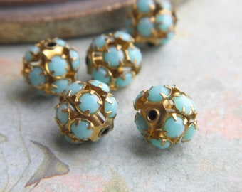 Lot 2 beads Swarovski 10 mm brass compartmentalized and turquoise vintage glass cabochons