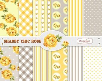 12 Shabby Chic Rose Yellow Gray Digital Scrapbook Paper pack for invites, card making, digital scrapbooking