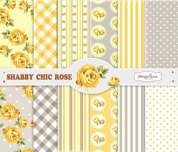 12 shabby chic rose yellow gray digital scrapbook paper pack rh etsy com shabby chic yellow bedding shabby chic yellow bathroom
