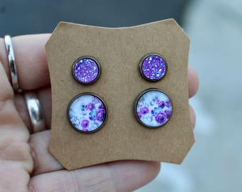 Purple Druzy Studs, Matching Earring Set, Druzy Set, Brass, Birthday Gift, 8mm, 12mm