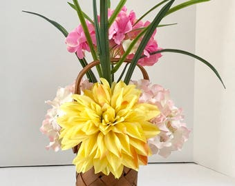 Silk Foral Arrangemt with Hibiscus' and Carnations in Basket Weave Wood Vase