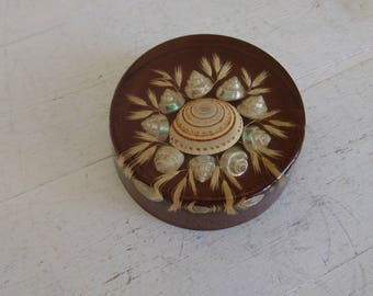 Vintage Resin and Shell Round Paperweight - 8cm across