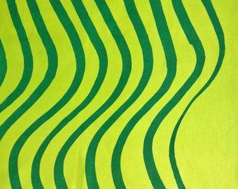 Marimekko Cotton Fabric Piece - Silkkikuikka - Green Yellow