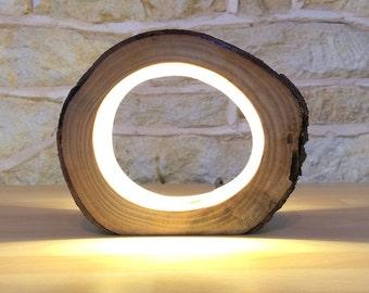 Kleine LED-Log Leuchttisch Lampe Schreibtisch leicht echte Holzscheit hohl ungewöhnliche Nachttisch Büro umfunktionierten Upcycled Naturholz