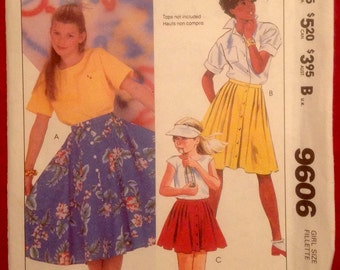 Vintage Girl's Skirt Pattern // McCall's 9606, size 7, unused > 1980s, 80s
