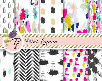 Brush Strokes digital paper. Acrylic paint brushstrokes seamless designs. Instant Download.