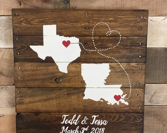 Personalized Wedding map sign, 2 State Guest book Alternative, Wedding guest book, Map art,  handmade event Guest book, anniversary gift