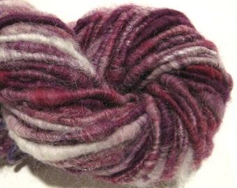 Handspun yarn Raspberry 65 yards sparkly art yarn  corespun yarn knitting supplies crochet supplies Waldorf doll hair