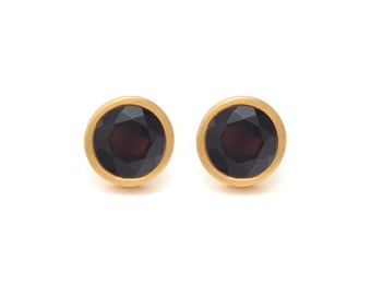 Onyx Stud Earrings - Gemstone POP Stud Earrings - Black Onyx in Yellow Gold - 18k Gold Vermeil - Studs