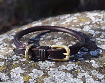 Rolled Leather Dog Collar - size XS