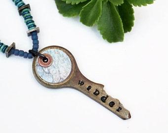 Wander Mixed Media Necklace, Mixed Media Jewelry, Key, Stamped Necklace, Stamped Jewelry, Indigo Blue Beaded Jewelry, Recycled