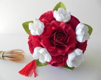 Plum Blossom and Roses Bridesmaids Bouquet, Wedding Bouquet, Wedding flowers, Bridal bouquet, Bride bouquet, Handmade bouquet, Red bouquet