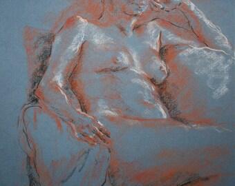 Pastel Trois Crayons on Blue Paper/ Susanna Short Pose 2