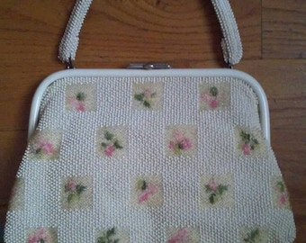 Vintage 1950s White Beaded Reversible Top Handle Handbag